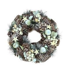 """13"""" Frosted Pine Cone, Apples and Bay Leaves Artificial Christmas Wreath - Unlit"""