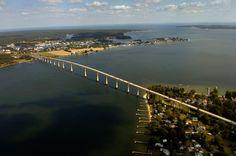 Aerial of Solomons Island and Thomas Johnson Bridge. #SouthernMaryland #Maryland #solomons
