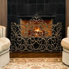 Ornamental Designs Classic Arched Screen with Sides Fireplace Screens, Paneling, House, Fireplace Accessories, Ornate, Home, Fireplace, Home Decor, Household