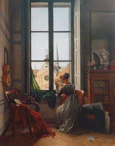 Louise-Adéone Drolling, Interior with Young Woman Tracing a Flower,ca 1820-1822, Saint Louis Art Museum