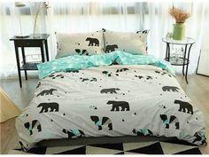 Concise Bear Print 4-Piece Cotton Duvet Cover Sets
