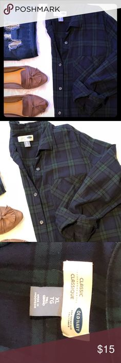 Old Navy Boyfriend Oversized Plaid Shirt Sz XL Navy & Green Plaid Shirt. Cute with leggings or distressed jeans. Never worn- was a little too large for my liking. Sz XL Old Navy Tops Button Down Shirts