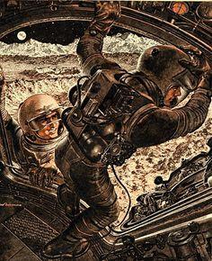 First Men to the Moon (1960) Written by Wernher Von Braun, illustrated by Fred Freeman. http://paleofuture.com/blog/2010/12/3/first-men-to-the-moon-1960.html