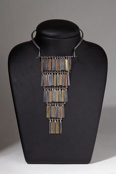 "Necklace | Ibe Dahlquist (Sweden). ""Cascade""  Sterling silver, bronze and oxidized silver 