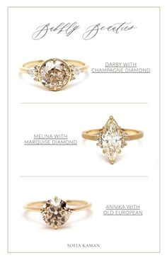Now you can have your champagne, and wear it too! Three gleaming rings have just landed on the Sofia Kaman site, ready for a night out (or a lifetime) on your finger! Two juicy, cinnamon-hued Old European cuts, and a dazzling warm Marquise cut will satisfy your bubbly craving marvelously. Cheers!