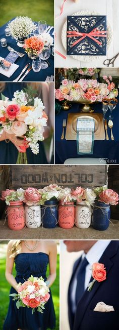 navy blue and peach wedding color ideas