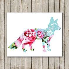 Fox Printable, Instant Download, Fox Art Print, Cottage Chic, Forest Animals, Fox Wall Art, Fox Poster, Nursery Printable, Fox Nursery Print...