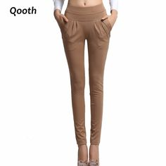 Women's Summer  Trouser Fashion Full Length Pocket Plus size 3XL Loose Casual Harem Pants DF181