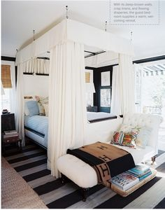 I have already told the fiancé that a four poster with curtains or a faux four poster is my number one dream for a bed and that one day we will have one.