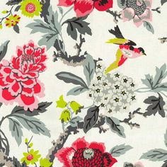 Waverly Fabrics Candid Moment Ebony Black Tree Peony and Birds