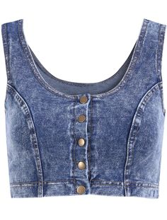 Shop Scoop Neck Crop Denim Tank Top at ROMWE, discover more fashion styles online. Denim Crop Top, Blue Crop Tops, Cropped Tank Top, Crop Tank, Kpop Fashion Outfits, Denim Fashion, Womens Fashion, Bustiers, Boho Summer Outfits