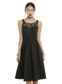 Black Brocade & Floral Lace Fit & Flare Dress, BLACK