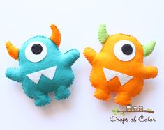 Two Monsters Plush Felt Toy, Nursery Decoration / Party Favors, Little Baby…
