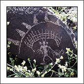 Dead End Canyon petroglyphs, Coso Rock Art National Historic Landmark in the Mojave Desert, eastern California.