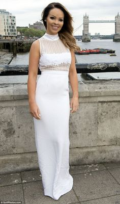 cb3d15c844c Katie Piper dazzles in white sheer panel dress at the M S Summer Ball