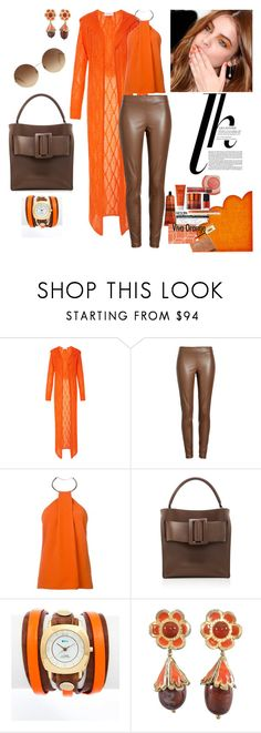 """""""orange good with brown"""" by agnesmakoni ❤ liked on Polyvore featuring Tak.Ori, Joseph, Thierry Mugler, Boyy, La Mer, Yves Saint Laurent and Victoria Beckham"""