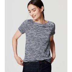 LOFT Petite Striped Boatneck Tee ($35) ❤ liked on Polyvore featuring tops, t-shirts, forever navy, striped boatneck tee, petite tee, boat neck t shirt, navy tee and stripe tee