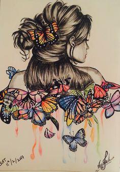 Beautiful Pencil Drawings, Pencil Drawings Of Girls, Copic Drawings, Art Drawings, Colorful Pictures, Art Pictures, Butterfly Art, Butterflies, Sewing Art