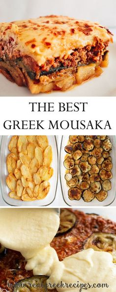 Real Greek Recipes – Simple Cooking For A Healthy Living Moussaka is a layered one of a kind baked dish full of flavor. Saucy, creamy with deep-fried potatoes and eggplants. Good Food, Yummy Food, Tasty, Pasta Sin Gluten, Mousaka Recipe, Greek Dinners, Cassoulet, Musaka, Greek Cooking