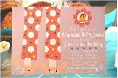 PJs & Pancakes #sleepover #party #invitations