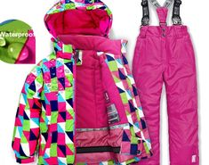 2018 new big brand boys girls ski suit waterproof windproof snow pants+ jacket a Set of Winter Sports Child Thickened Clothes 807666d06