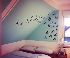 pastel- ravens flying. I love birds - hopefully I'll have an attic room or nook to apply them to