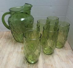 Avocado Green Diamond Quilted Pitcher Six Drinking Glasses Madrid Anchor Hocking