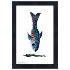 Catchii Abbildung, einschließlich Rahmen, mit ursprünglich handgemalten Illustration von Fisch blau
