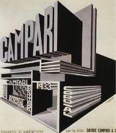 Who is the author of the work:Fortunato Depero Name of the work: Campari Pavilion When was the work Between 1925 and Fortunato Depero churned out a huge number of advertisement sketches for Campari Vintage Advertisements, Vintage Ads, Vintage Posters, Vintage Designs, Vintage Graphic, Vintage Decor, Lettering, Typography Letters, Typography Design