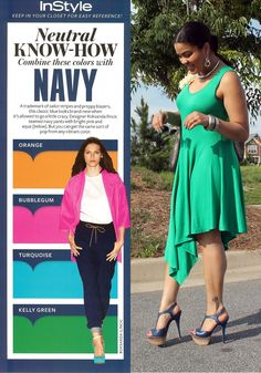 Green + Navy. Now I know what to pair with my navy wedges