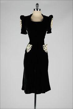 vintage 1940s dress . black velvet . macrame by millstreetvintage (Need this in my life!!!)