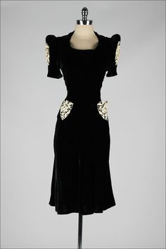 vintage 1940s dress . black velvet . macrame by millstreetvintage (Need this in my life!!!)