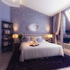 bedroom:Surprising Romantic Violet Bedroom With Fur Rug Blend With Wooden Bookcase And Pair Of Table Lamps Between The White Bed romantic violet bedroom and floor combined with beige bed and dim wall lamps