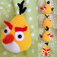 Chuck, the famous Angry Birds, from the game of Rovio Mobile. Amigurumi, maade with the hook, acrylic yarn. di Ilmondodeibalocchi su Etsy