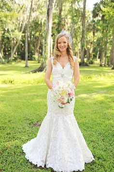 Southern wedding - lace wedding gown