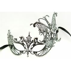 Butterfly Venetian Masks | Metal Venetian With Side Butterfly Black Mask