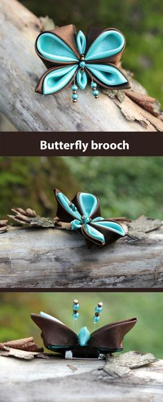 This turquoise and brown butterfly created from fabric using the technique of kanzashi.   This cute butterfly is not big, the length of the brooch is 4 cm ( 1.6 inches ) and its width is 5 cm ( 2 inches ).  If you want to make someone a nice little keepsake then this brooch would be a good choice for this occasion.