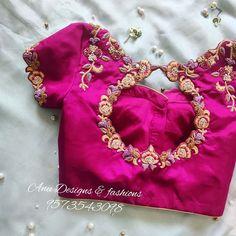 50 Pattu Saree Blouse Designs To Rock Your Desi Bridal Look Blouse Back Neck Designs, Cutwork Blouse Designs, Pattu Saree Blouse Designs, Hand Work Blouse Design, Simple Blouse Designs, Stylish Blouse Design, Bridal Blouse Designs, Seda Sari, Traditional Blouse Designs