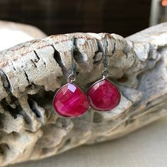 Ruby Bezels in Oxidized Silver or Gold