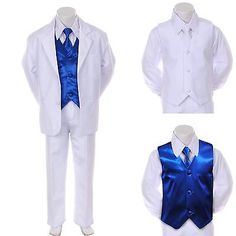 Boy Teen Formal Wedding Party Prom White Suit Tuxedo + R Blue Vest Tie Set 8-14