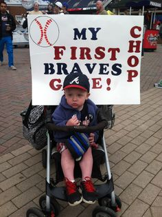 Never too young to CHOP! Braves Baseball, Baseball Cards, Tomahawk Chop, America's Pastime, Fan Signs, Georgia On My Mind, Atlanta Braves, Football Season, No One Loves Me
