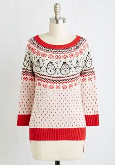 Oh Snow Cozy Sweater. Every detail of this wintry sweater - from its Fair Isle pattern featuring a family of snowmen to its sparkly knit - makes you want to snuggle up by the fireplace. #white #modcloth