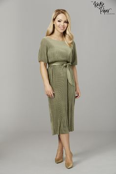 Katie Piper Green Belted Pleated Tie Dress - Want That Trend