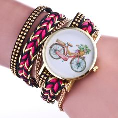 2.68$  Buy now - http://alinqz.shopchina.info/go.php?t=32806606145 - Womens Watch Bike Pattern Woven Around The Belt Quartz Wrist Watch Watches For Women Relogios Feminino  #SHOPPING