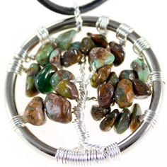 Opal Tree of Life pendant with leather necklace  $35.00