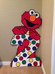 One Birthday Number Party Prop Sesame Street Elmo Elmo First Birthday, 2nd Birthday Party Themes, Second Birthday Ideas, Monster Birthday Parties, Elmo Party, Birthday Numbers, Mickey Party, Dinosaur Party, Dinosaur Birthday