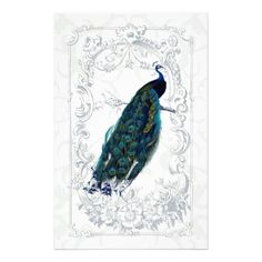 Beautiful vintage peacock art personalized