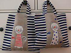 Patchwork Bags, Quilted Bag, Diy Tote Bag, Reusable Tote Bags, Cat Bag, Jute Bags, Fabric Bags, Shopper Bag, Kids Bags