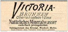 Original-Werbung/Inserat/ Anzeige 1899 - VICTORIA - BRUNNEN OBERLAHNSTEIN / EMS ca. 90 x 40 mm