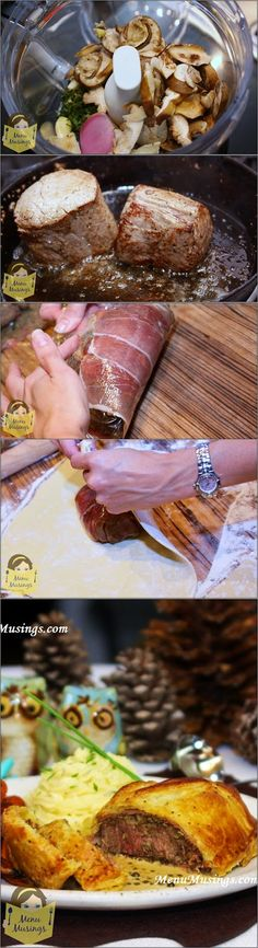 Beef Wellington with Green Peppercorn Sauce - Individual beef tenderloin filets, covered with wild mushroom duxelles and prosciutto, baked inside puff pastry. Step-by-step photos. Perfect for a decadent date night!